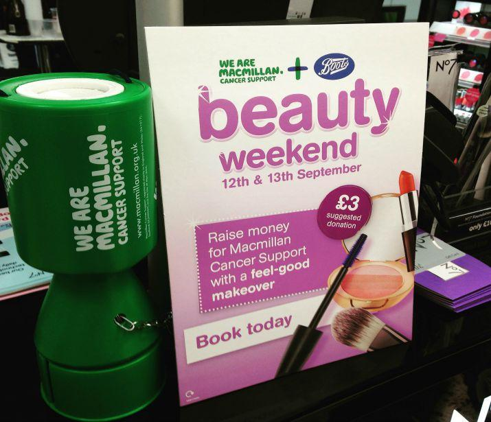 Boots beauty weekend for Macmillan cancer support