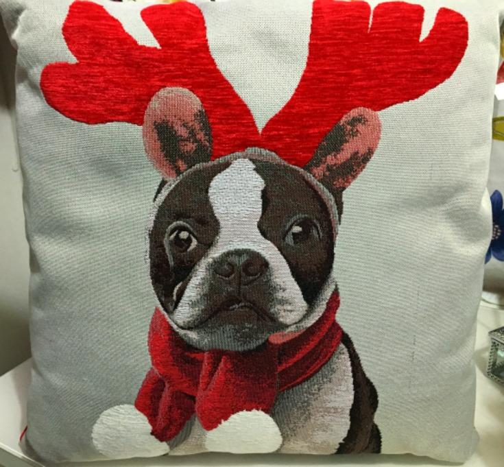George Home Xmas Tapestry Dog Cushion